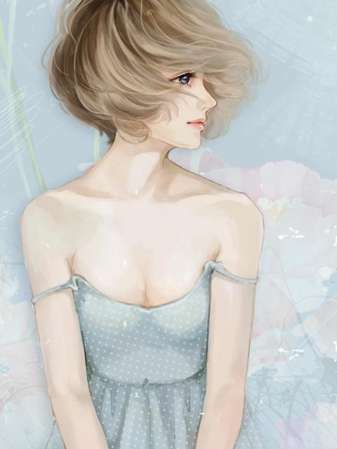 Screenshot №1 pro téma Pastel Tones Drawing Of Girl 480x640