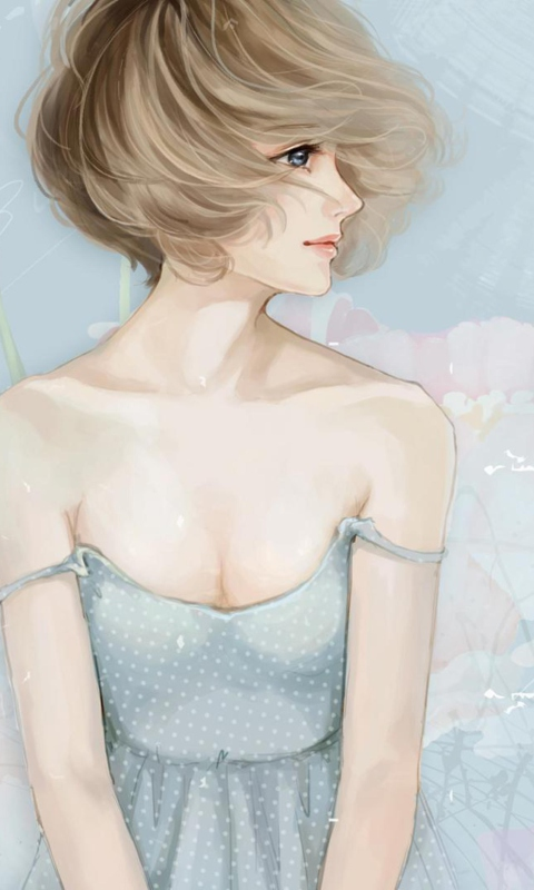 Screenshot №1 pro téma Pastel Tones Drawing Of Girl 480x800