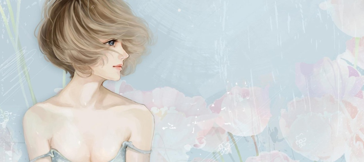 Screenshot №1 pro téma Pastel Tones Drawing Of Girl 720x320
