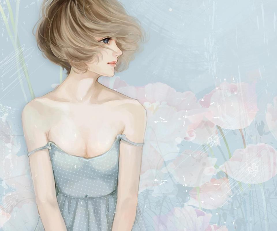 Screenshot №1 pro téma Pastel Tones Drawing Of Girl 960x800