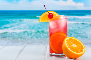 Tropical Paradise Cocktail With Cherry On Top Wallpaper for Android, iPhone and iPad