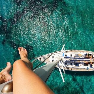 Crazy photo from yacht mast - Obrázkek zdarma pro 208x208