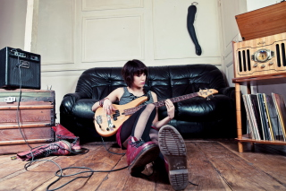 Guitar Girl Wallpaper for Android, iPhone and iPad