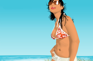 Girl On The Beach Picture for Android, iPhone and iPad