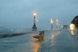 Embankment during the hurricane Wallpaper for Android, iPhone and iPad