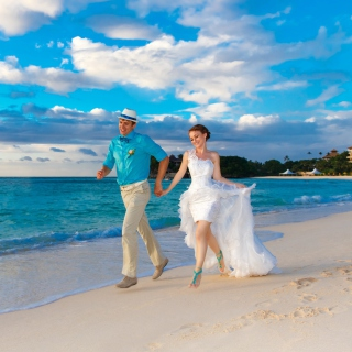 Happy newlyweds at sea - Obrázkek zdarma pro 320x320