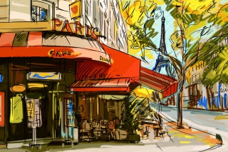 Paris Street Scene Background for Android, iPhone and iPad