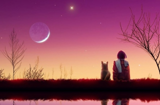 Girl And Cat Looking At Pink Sky Wallpaper for Android, iPhone and iPad
