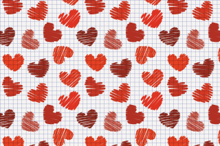 Valentine's Day Drawn Hearts Background for Android, iPhone and iPad