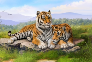 Tigers Art Background for Android, iPhone and iPad