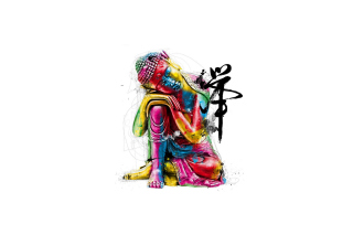 Colorful Buddha Background for Android, iPhone and iPad