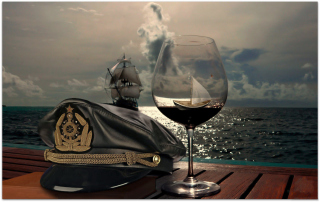 Free Ships In Sea And In Wine Glass Picture for Android, iPhone and iPad