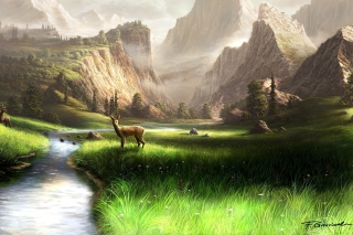 Deer At Mountain River Wallpaper for Android, iPhone and iPad