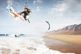 Free Kitesurf Girl Picture for Android, iPhone and iPad