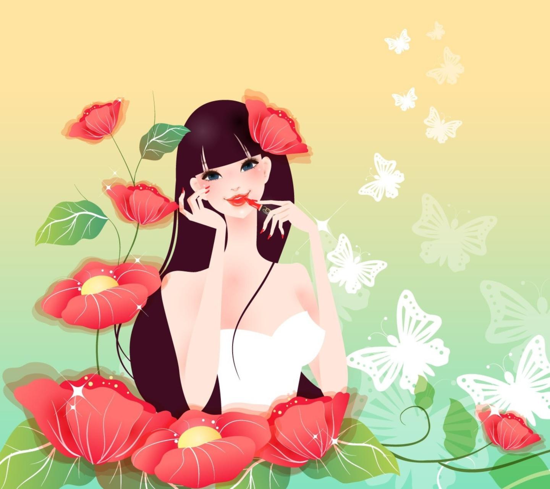 Открытка с девушкой из цветов