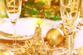 Gold Christmas Decorations Background for Android, iPhone and iPad