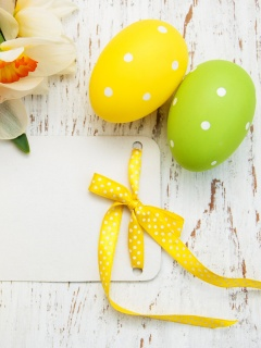 Easter Yellow Eggs Nest wallpaper 240x320