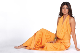 Shilpa Shetty in Orange Dress Background for Android, iPhone and iPad