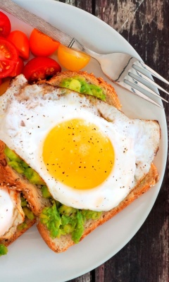 Das Breakfast avocado and fried egg Wallpaper 240x400