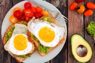 Breakfast avocado and fried egg Background for Android, iPhone and iPad