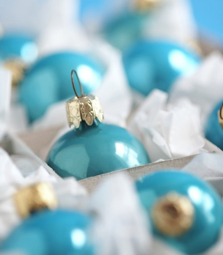 Turquoise Christmas Tree Balls Wallpaper for Nokia Asha 308