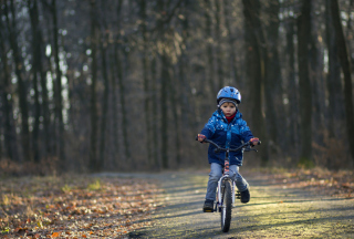 Free Little Boy Riding Bicycle Picture for Android, iPhone and iPad