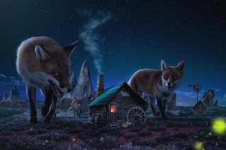 Fox Demons Background for Android, iPhone and iPad