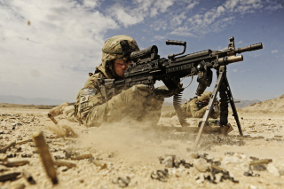 Soldier with M60 machine gun Wallpaper for Android, iPhone and iPad