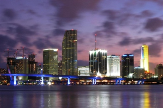 Miami Skyline Dusk Background for Android, iPhone and iPad