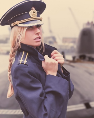 Blonde military Girl on Marine Navy Background for Nokia C6