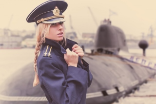 Blonde military Girl on Marine Navy Background for Android, iPhone and iPad