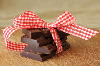 Chocolate And Red Bow Picture for Android, iPhone and iPad