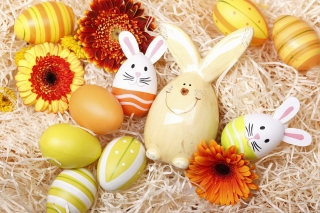 Easter Eggs Decoration with Hare sfondi gratuiti per cellulari Android, iPhone, iPad e desktop