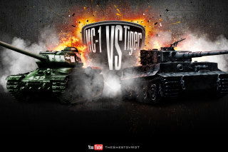 World of Tanks Tiger VS IC1 Background for Android, iPhone and iPad