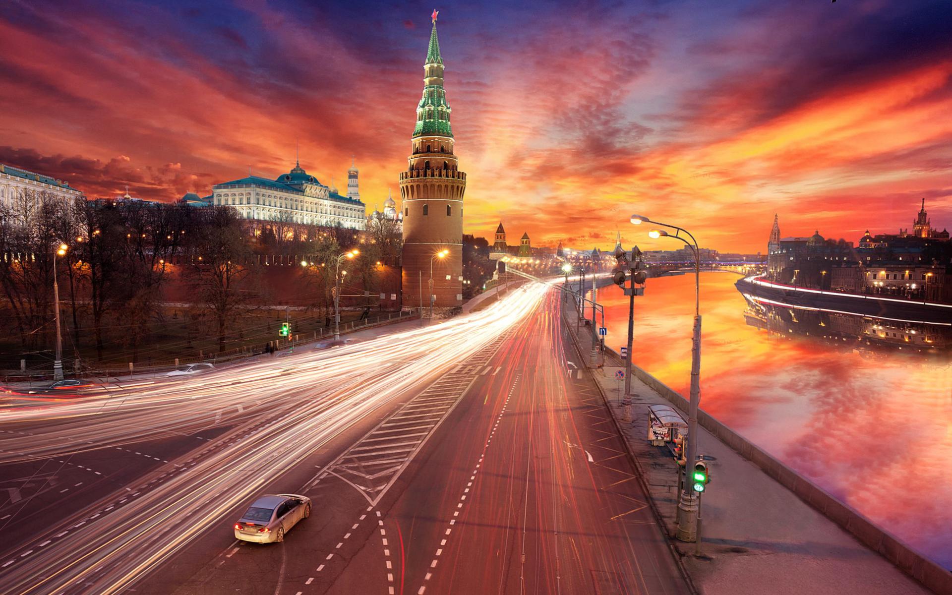 Red Sunset Over Moscow Kremlin para Widescreen Desktop PC 1920x1080 Full HD