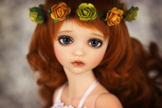 Redhead Doll With Flower Crown Background for Android, iPhone and iPad