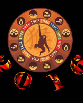 New Year 2016 Monkey Chinese Horoscopes Wallpaper for 240x400
