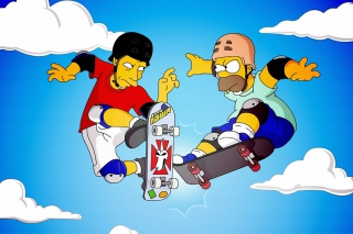 Free Homer Simpson and Tony Hawk Picture for Android, iPhone and iPad
