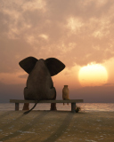 Screenshot №1 pro téma Elephant And Dog Looking At Sunset 128x160