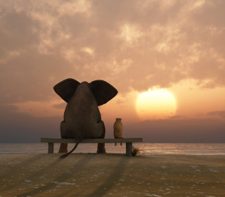 Elephant And Dog Looking At Sunset - Obrázkek zdarma pro iPad 2