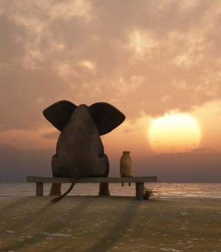 Elephant And Dog Looking At Sunset - Obrázkek zdarma pro 128x160