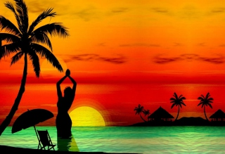 Sunset Beach Wallpaper for Android, iPhone and iPad