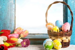Easter eggs in basket Background for Android, iPhone and iPad