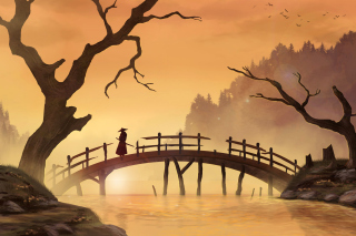 Free Samurai on Bridge Picture for Android, iPhone and iPad