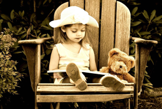 Little Girl Reading Book Picture for Android, iPhone and iPad