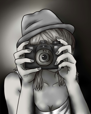 Black And White Drawing Of Girl With Camera - Obrázkek zdarma pro Nokia X6