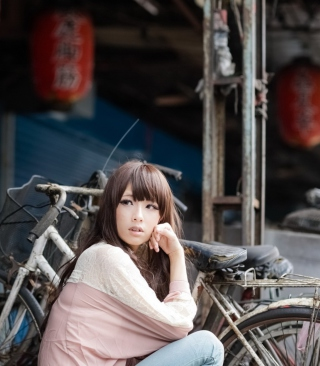 Cute Asian Girl With Bicycle papel de parede para celular para 640x1136