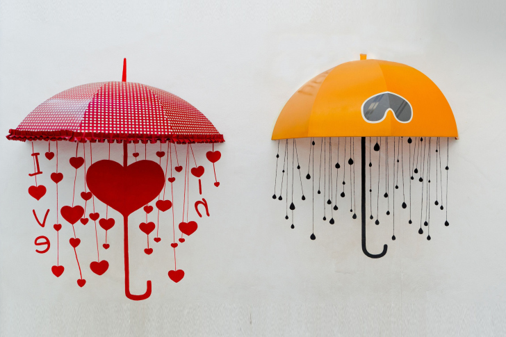 Two umbrellas wallpaper