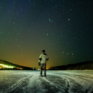 Winter landscape under the starry sky - Fondos de pantalla gratis para iPad 2