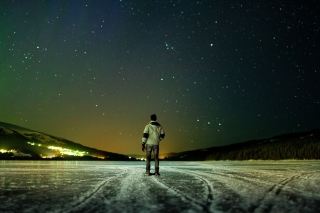 Winter landscape under the starry sky Wallpaper for Android, iPhone and iPad
